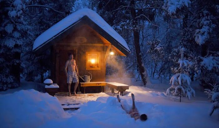 Finnish Sauna and Cabin Winter Adventure